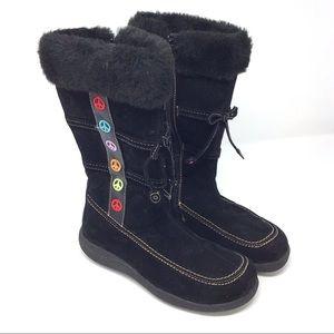 Rachel Shoes | Black Peace Sign Twiggy Boots 5M